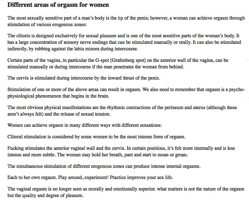 orgasm areas